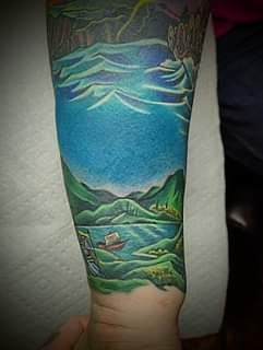 Finished forearm wrap by John, lake and ravine completely healed.