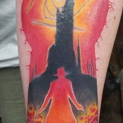 Fun dark tower tattoo, a little glossy due to freshness