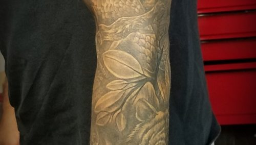 Finished this sleeve today, girl at the top was pre existing, everything else by…